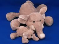 Ganz no H10042 Gray Velour Lying Down Elephant and Baby