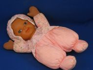 Goldberger Black Puffalump Doll Pink Lavender Flower Print Bonnet