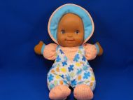 Goldberger Giggles Black Doll Blue Orange Flower Print