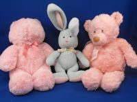 GUND Blue Sweater Knit Rabbit Pink Ears Feet Flower Print Bow