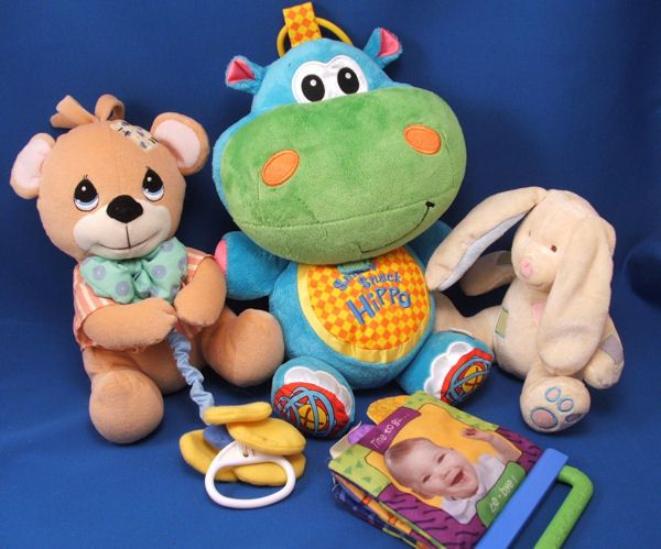 Infantino Snicky Snack Hippo Blue Hippo Checked Book Rattle