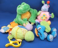 Infantino Blue Green Print Elephant Clip Crinkle Jingle Rattle