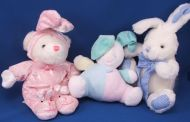 DanDee Collectors Choice White Bear Pink Bunny Suit Bunny Slippers
