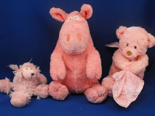 Mary Meyer Pink Curly Poodle Dog Pink Bows