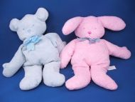 NABCO Pastel Pancake Plush Pink Rabbit Blue Green Plaid Bow