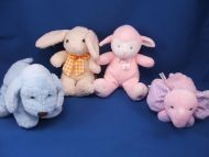 Koala Baby Pink Lamb Pink Hearts on Feet Pink Print Bow Rattle