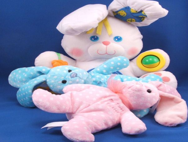 Walmart Small Blue White Polka Dots Bunny