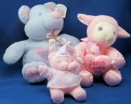 DanDee Soft Expressions Blue Bear Baby First Teddy Pink Heart Ears