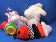 United Features Ltd Yellow White Baby Seated Snoopy Ear Squeaks