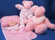 You and Me Mommy Loves Me Pink Doll Bedding Pillow Blanket Dog