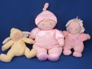 Small Wonders Blond My First Doll Pink Sleeper Bonnet Rattle