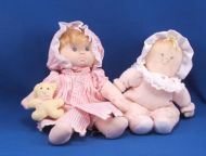 RUSS Blond Baby Doll Camille Pink Sleeper White Collar Bonnet Rattle