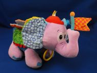 Infantino Lavender Elephant Hot Pink Cap Rattle Crinkle Taggies