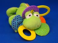 Infantino Green Frog Blue Green Print Ears Teether Crinkle Mylar