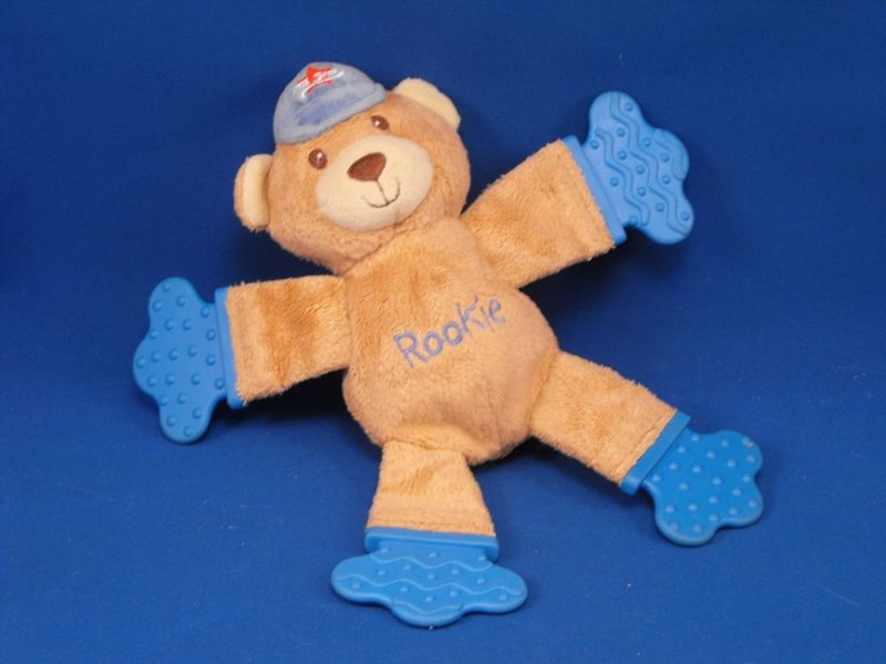 KIDS II Bright Starts Brown Bear Rookie All Star Cap Rattle Teether