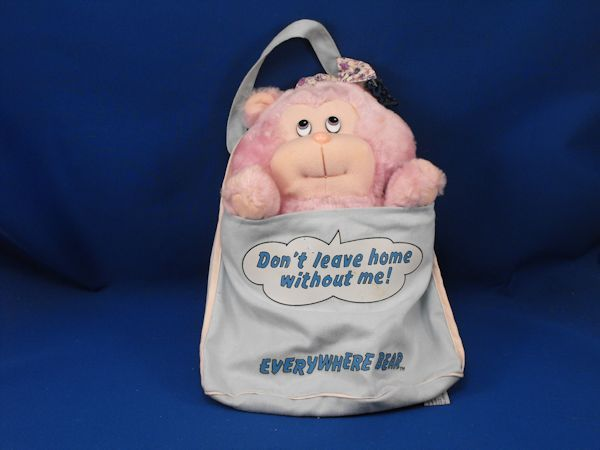 1984 Mattel Emotions Everywhere Bear Lavender Bag Attached