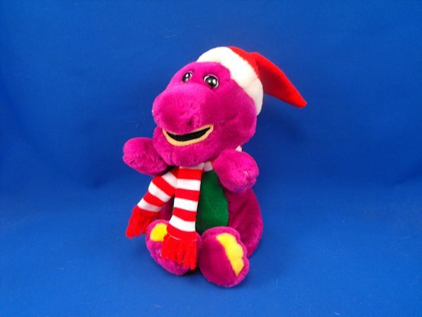Lyons Group Small Plush Barney Santa Hat Red White Scarf