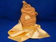 Pooh Tan Velour Hand Puppet Holding Gold Satin Blankie