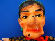 50s 60s German Cloth Hand Puppet Rubber Head Old Woman Witch