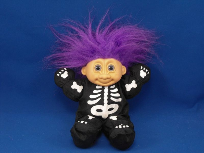 RUSS 2429 Halloween Skeleton Costume 9 inch Troll Purple Hair