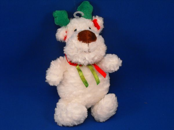 Soft Dreams 87027 Small WHITE Green Red Seated Reindeer