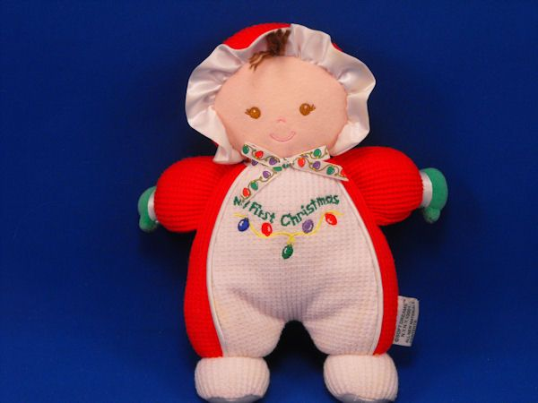 Soft Dreams Brunette Doll Red White Sleeper Bonnet First Christmas