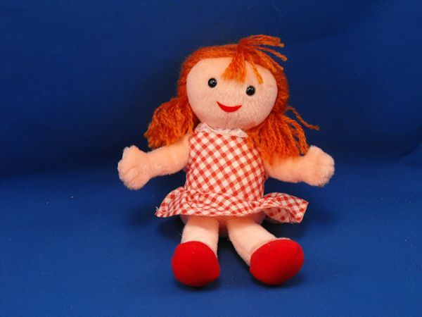 Stuffins Misfit Sue Pink Doll Red Hair Red White Gingham Dress