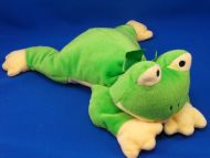 TY 1996 Pillow Pals Green Yellow Lying Down Frog Ribbit