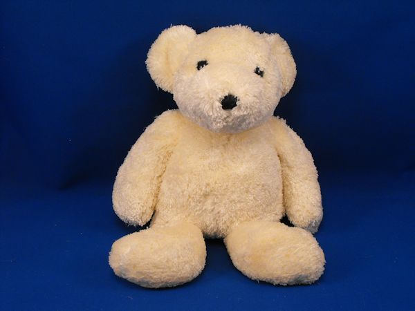 Unknown Brand White Chenille Bear Foam Body Black Eyes Nose