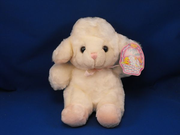 Walmart White Seated Easter Lamb Face Pink Ears Feet Pink Bow