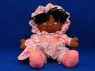 Dolly Mine Puffalump Black Doll Pink Gray Polka Dot Dress Bonnet