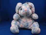 Well Made Toy XL Blue Pink Plaid Blanket Seated Dog Pink Ears Mouth