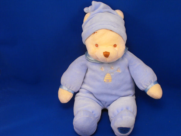 Disney Cream Pooh Blue Velour Sleeper Bee Hive Stocking Cap
