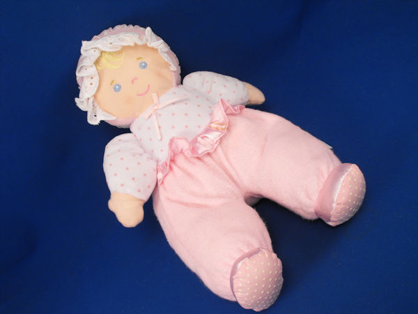 Eden Blond Doll White Pink Dots Crinkle Ruffle Stripe Bonnet Rattle