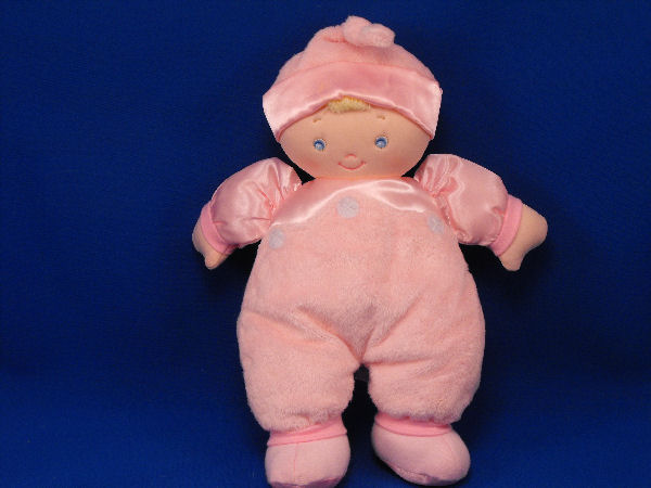 Baby GUND Blond Doll Satin Dolly Pink Sleeper Knot Bonnet