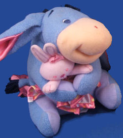 Eeyore holding his clean blankie