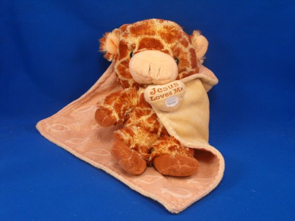 Plush baby giraffe wrapped in his blankie