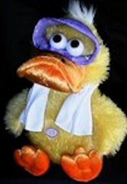DanDee Yellow & Orange Seated Googly Eyed Duck Wearing Scuba Goggles with White Towel
